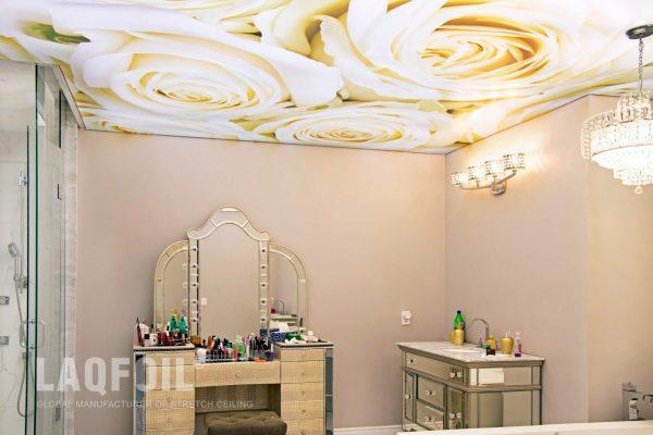 flower printed ceiling in bathroom