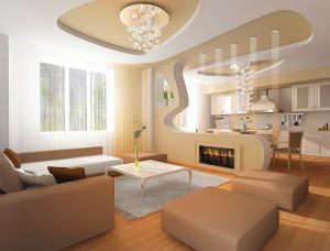 amazing family room with multilevel reflective beige stretch ceiling