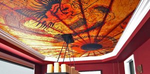 custom printed ceiling in luxury living room by laqfoil