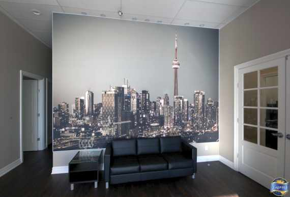 custom wall mural in amazing office building