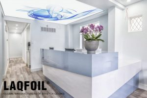 dental clinic reception with luxury back lit reflective stretch ceiling toronto