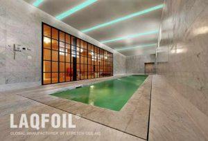 green Linear Lights Ceilings in pool area
