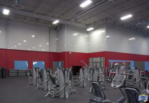 two ton red and gray high gloss stretch fabric wall cover in World Gym by laqfoil team toronto