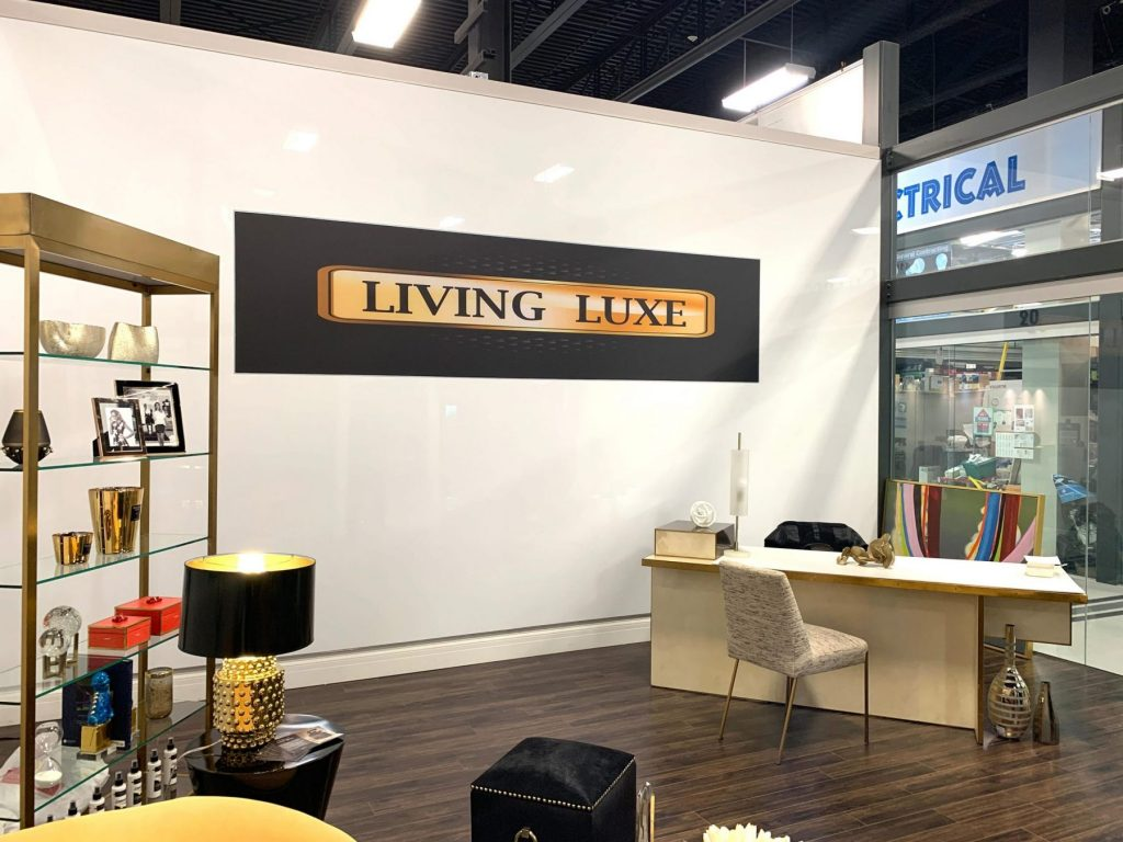 living luxe banner with stretch fabric graphics