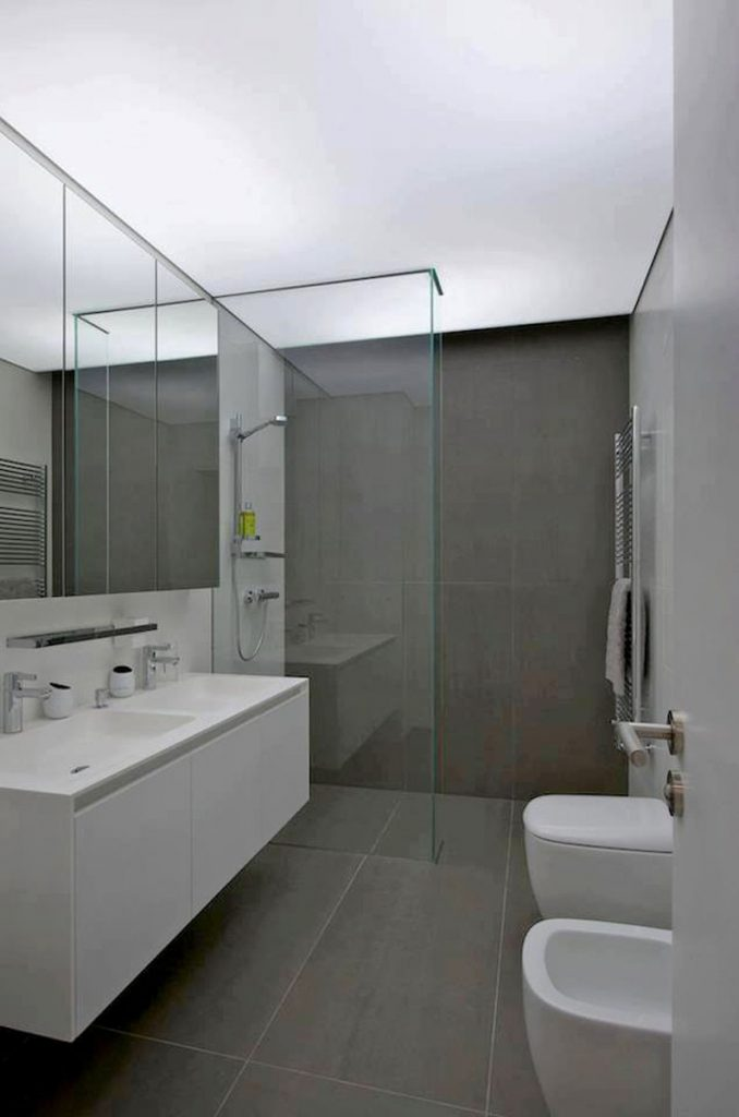 luxury bathroom with stretch ceiling led lights
