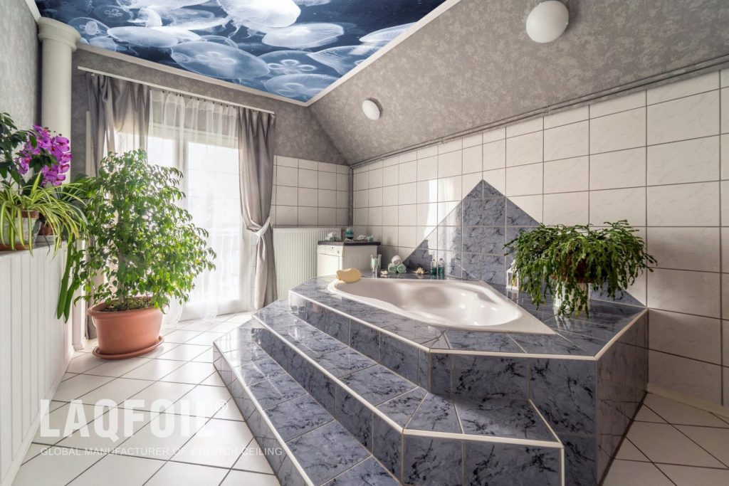 amazing bathroom with hot tub and custom printed ceiling