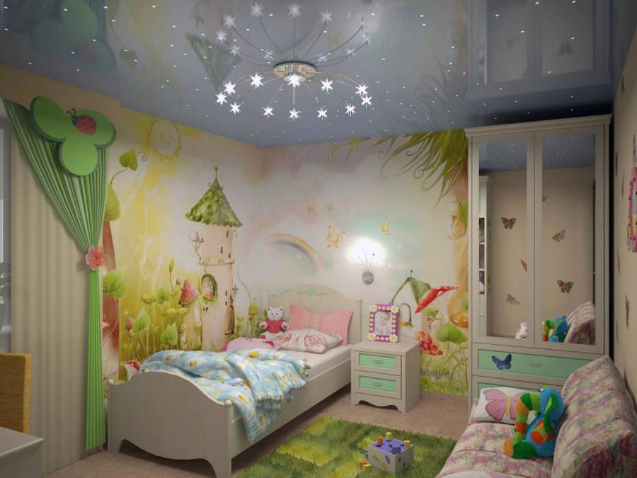 Custom Kids Bedroom with Reflective Stretch Ceiling and Custom Wall Cover