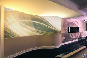 back lit custom wall cover and printed murals in amazing living room
