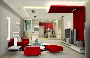 amazing living room with back lit multilevel stretch ceiling UK