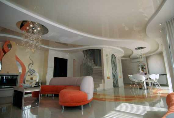 multilevel beige glossy stretch ceiling in custom living room