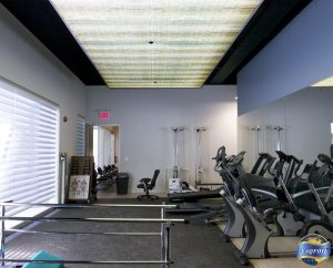 modern gym with custom stretch ceiling by laqfoil team