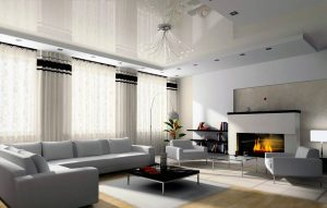 luxury living room with custom fireplace and glossy stretch ceiling