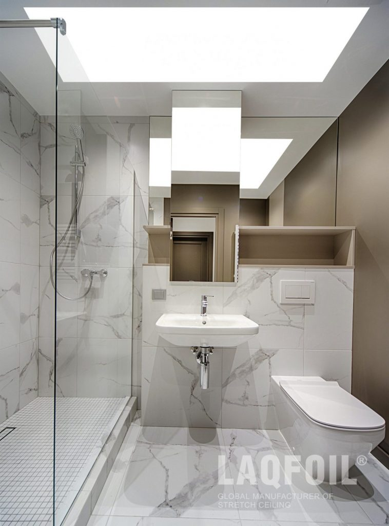 liner lights ceiling in small bathroom