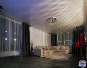 high gloss stretch ceiling in luxury living room by laqfoil USA