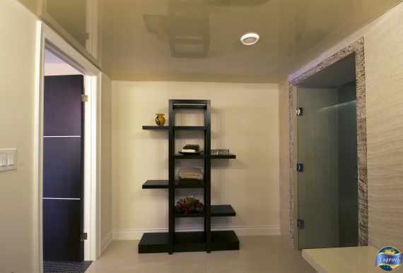 custom washroom with beige high gloss stretch ceiling