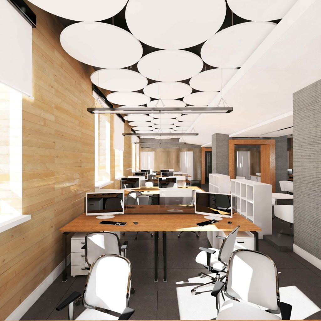 stretch acoustic ceiling in open space office
