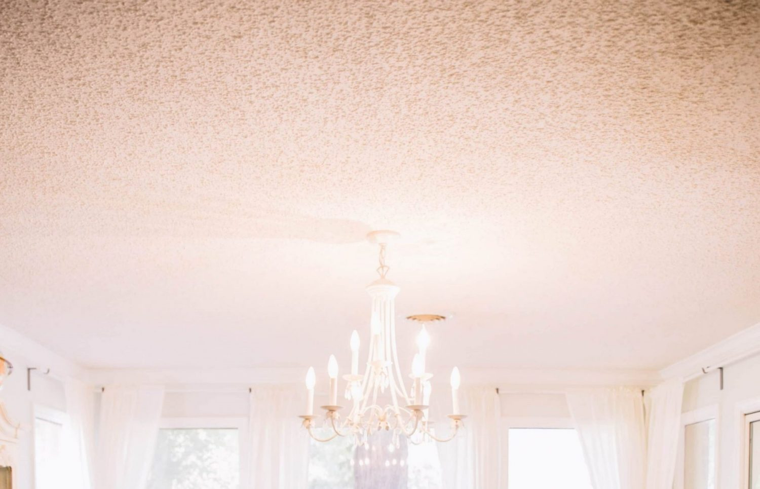 stucco ceiling remove and hide by stretch ceiling