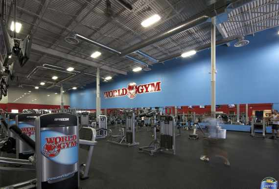 blue and red custom wall cover in a gym