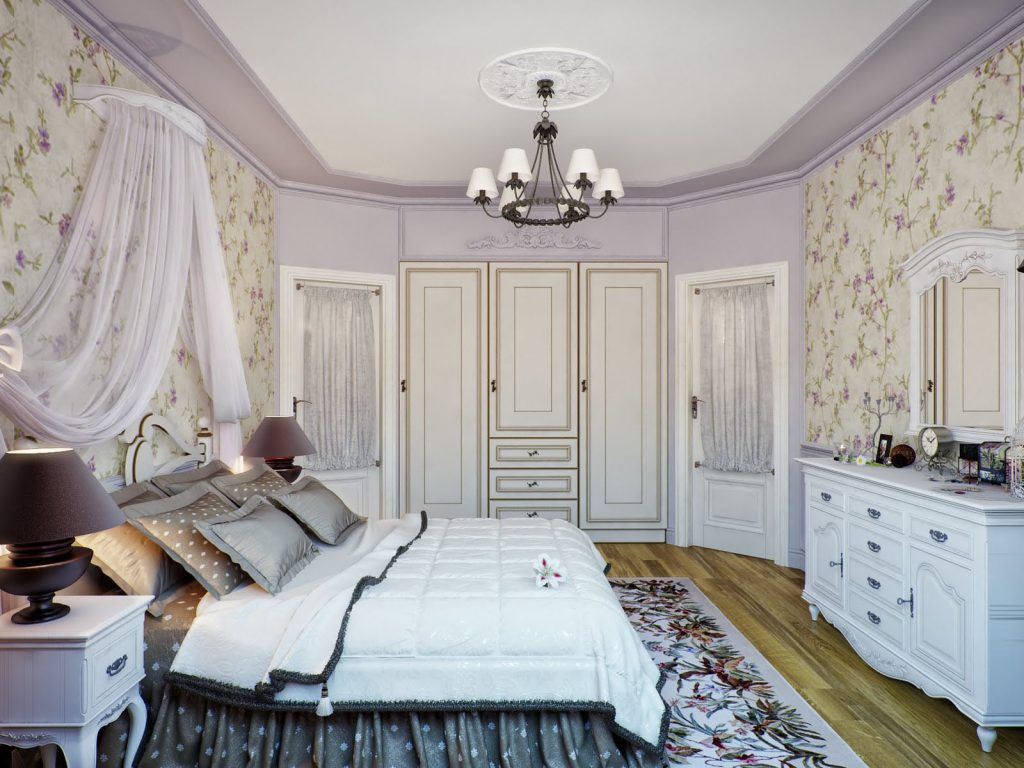 custom bedroom with reflective stretch ceiling canada