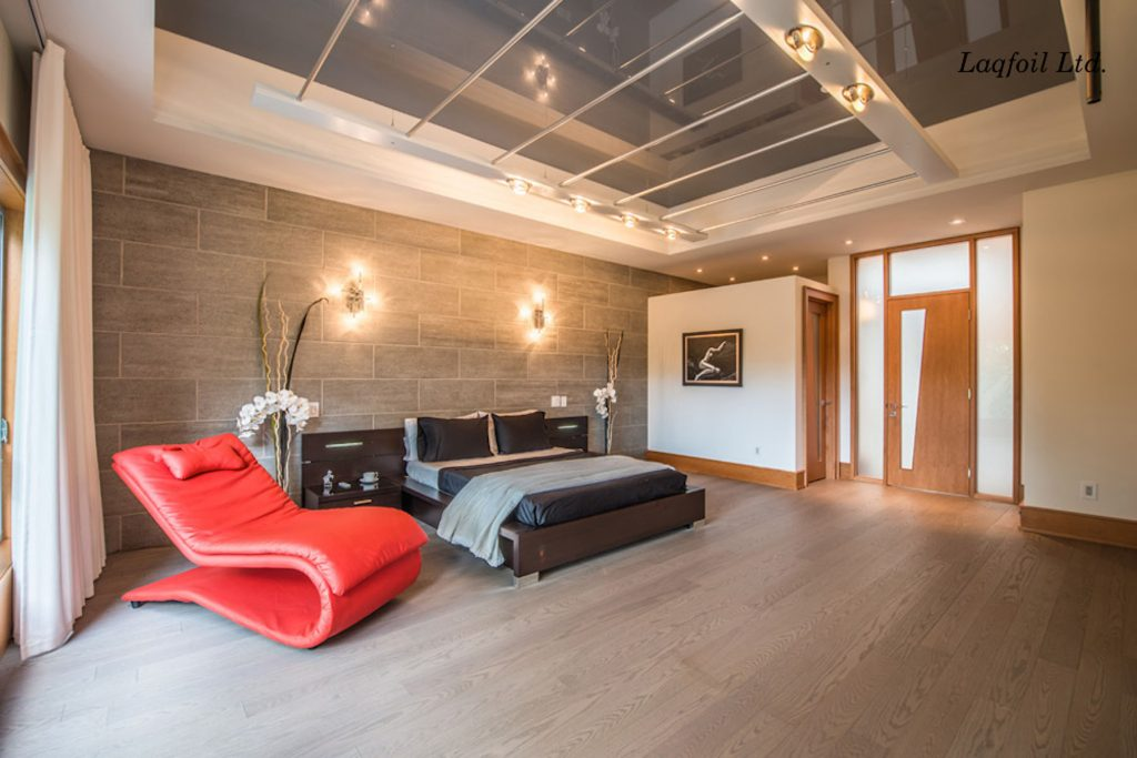 bedroom with gray gloss stretch ceiling