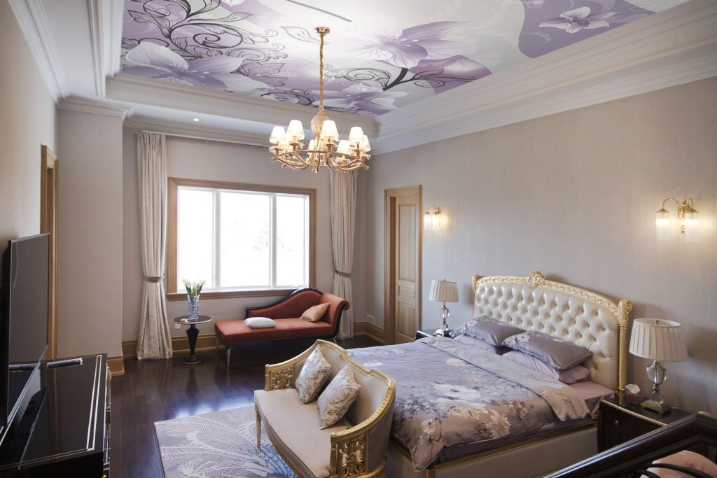 bedroom with purple Printed stretch ceiling
