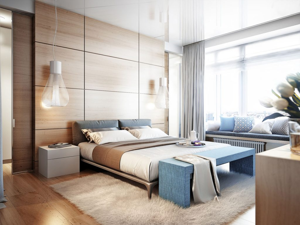 custom bedroom with wall decor and stretch ceiling design
