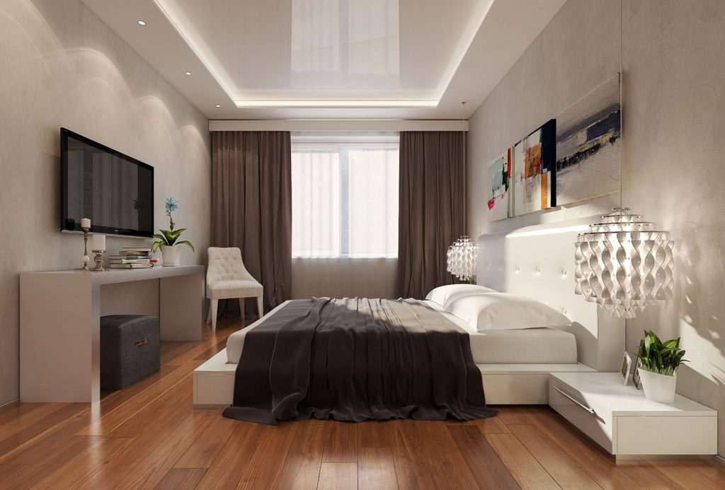 modern bedroom with back-lit reflective stretch ceiling GTA