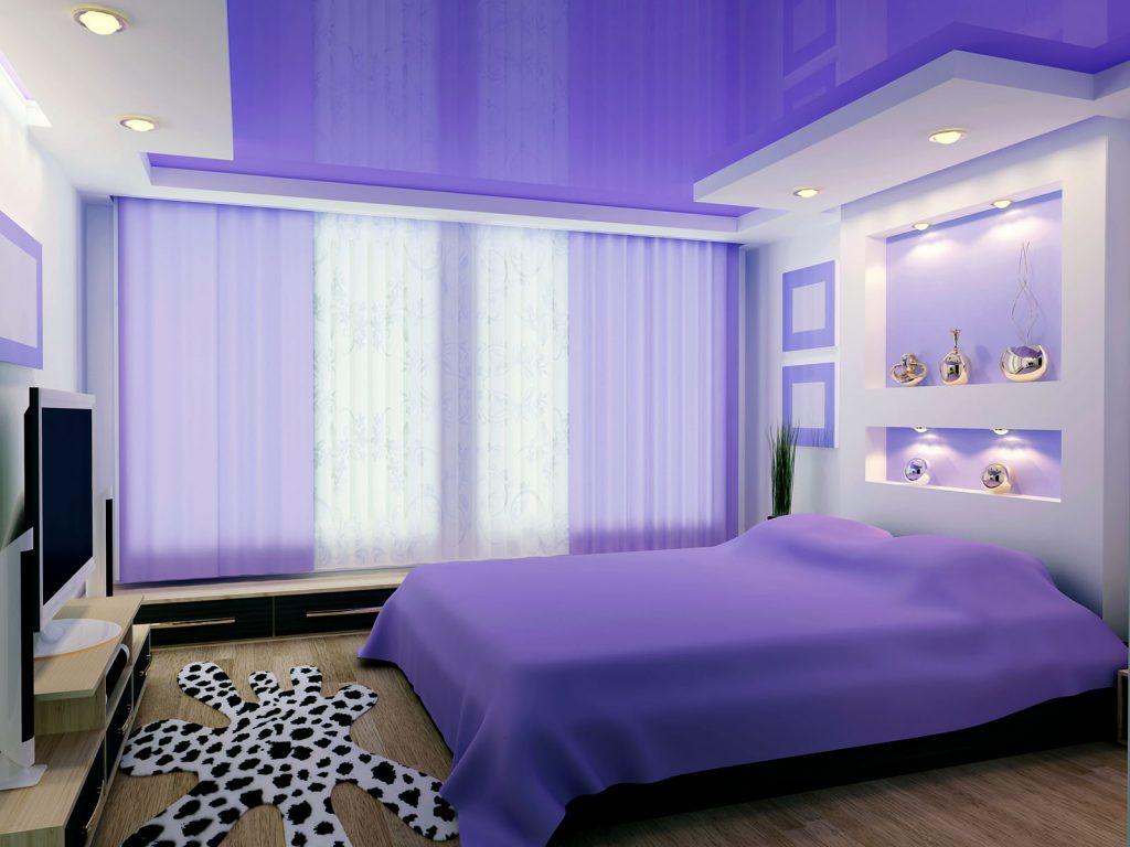 purple high gloss stretch ceiling