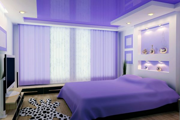 purple high gloss stretch ceiling