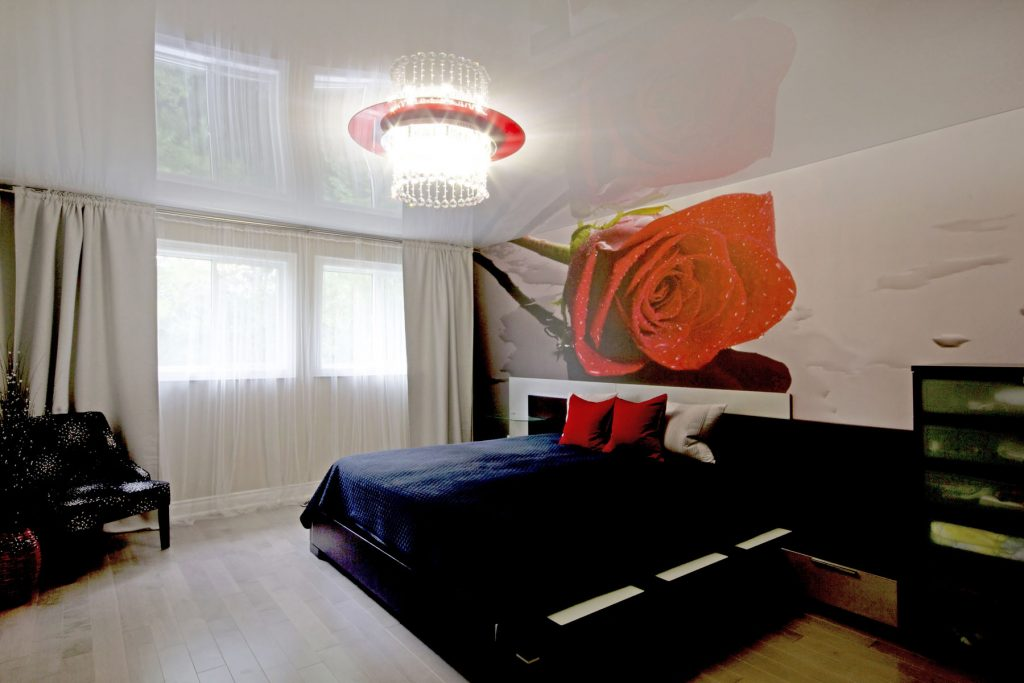 modern bedroom with reflective stretch ceiling and custom wall murals
