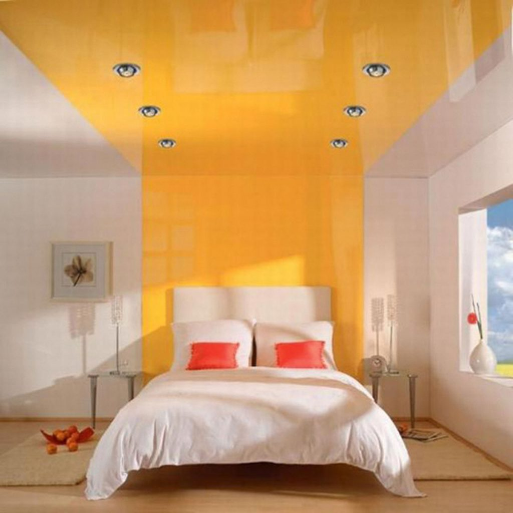 Yellow and white reflective stretch ceiling and Custom Wall Cover