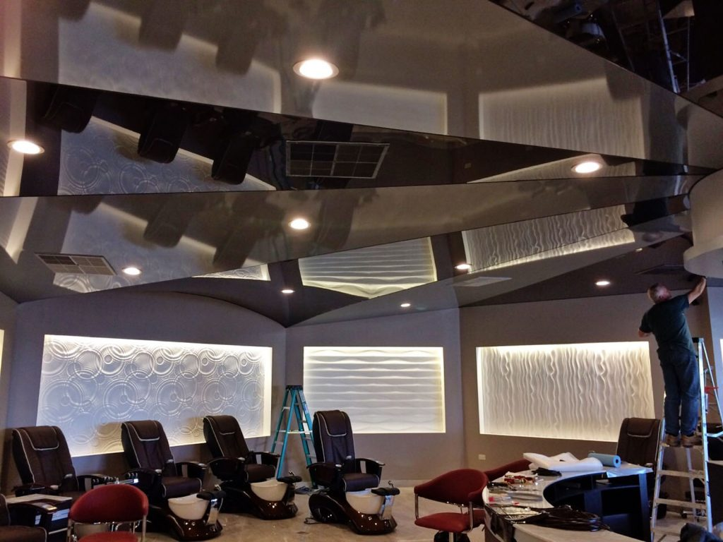 amazing multilevel reflective stretch ceiling and back lit printed wall murals