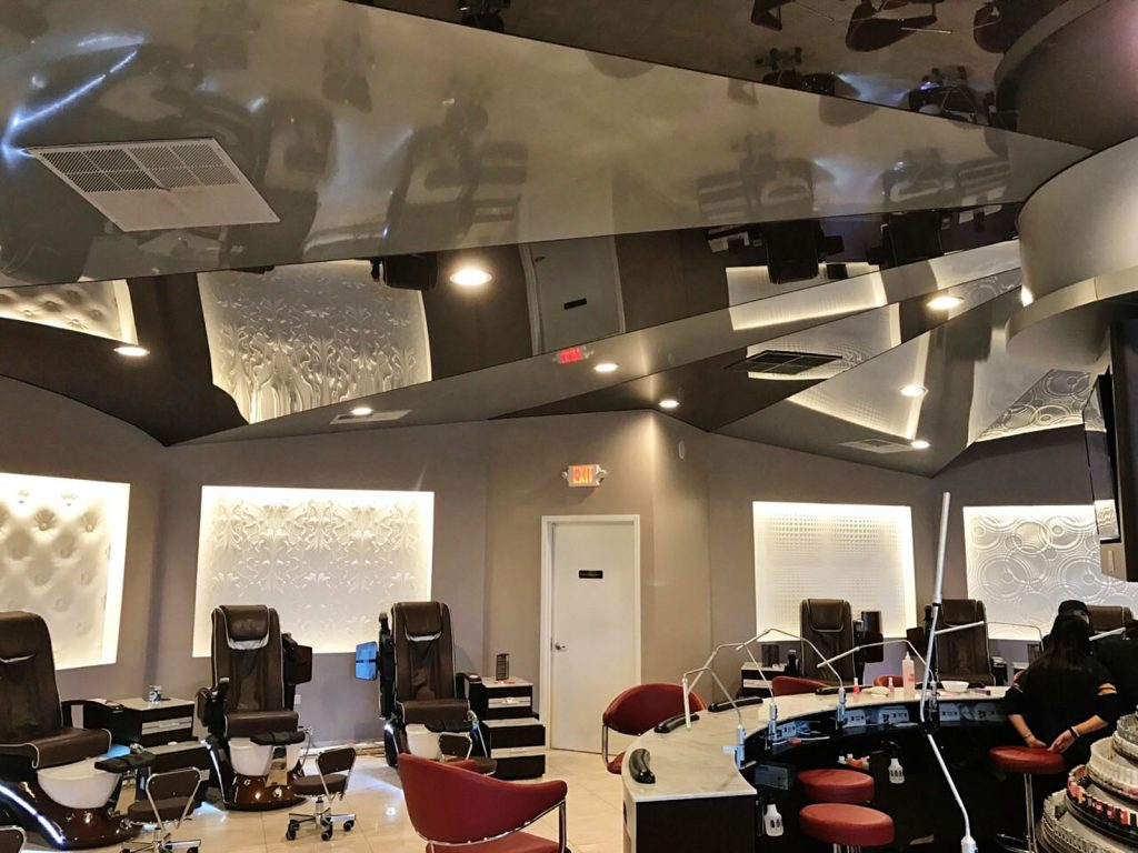 Beyond Salon and Nails with multilevel reflective ceiling