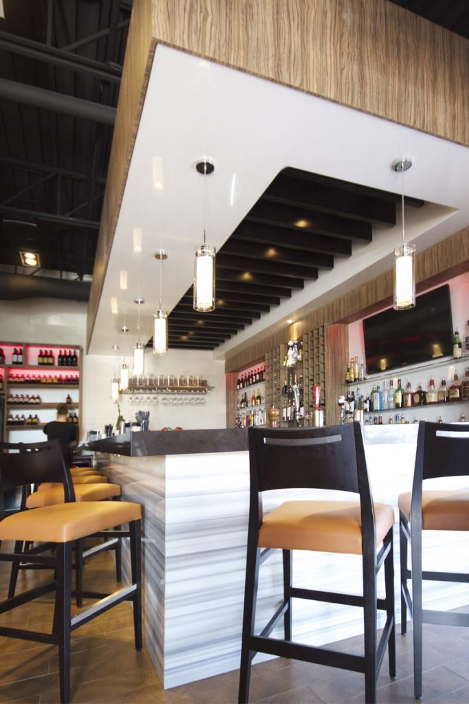 custom bar with white stretch ceiling gloss by laqfoil USA