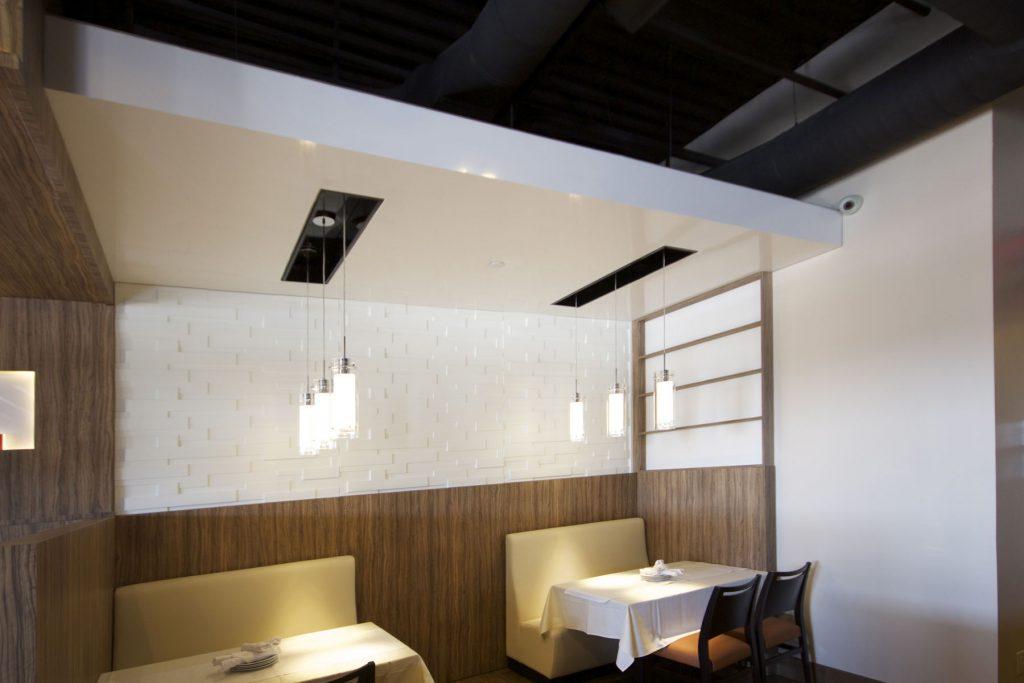 Bucatini Restaurant reflective multilevel ceiling