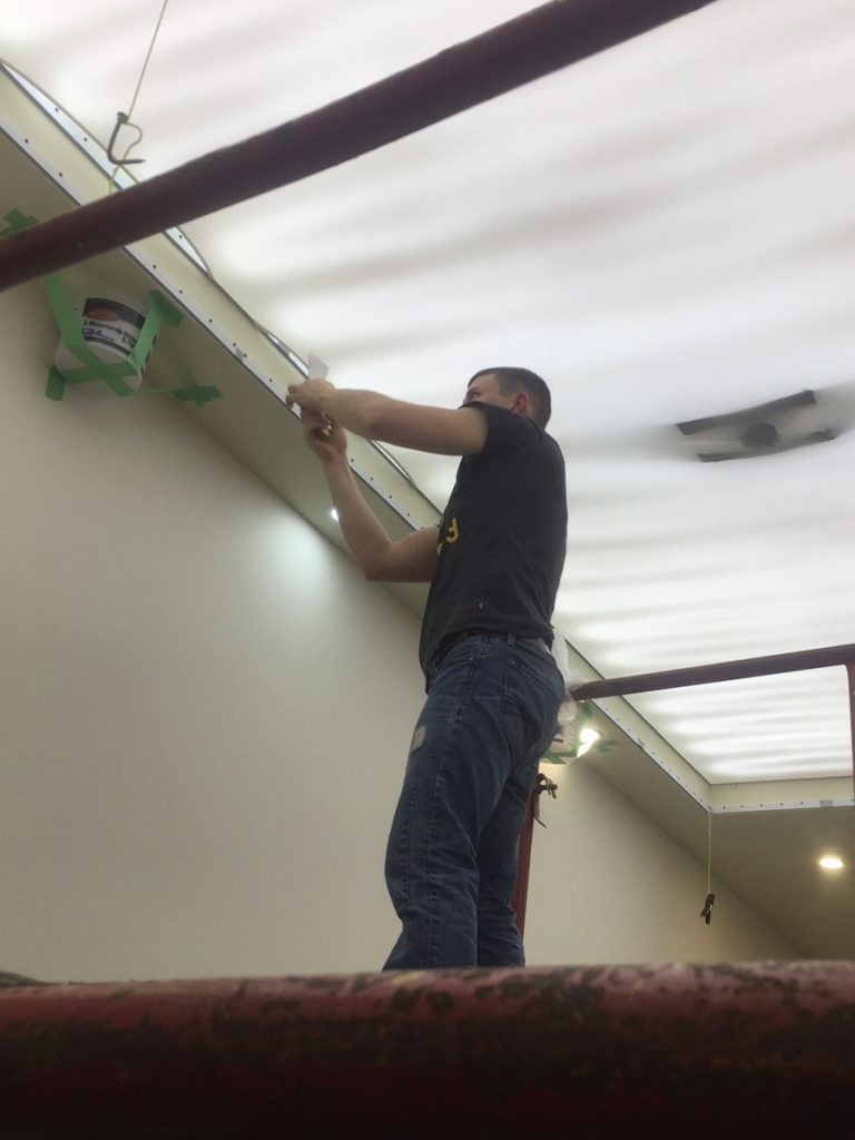 stretch ceiling pictures installation in custom office