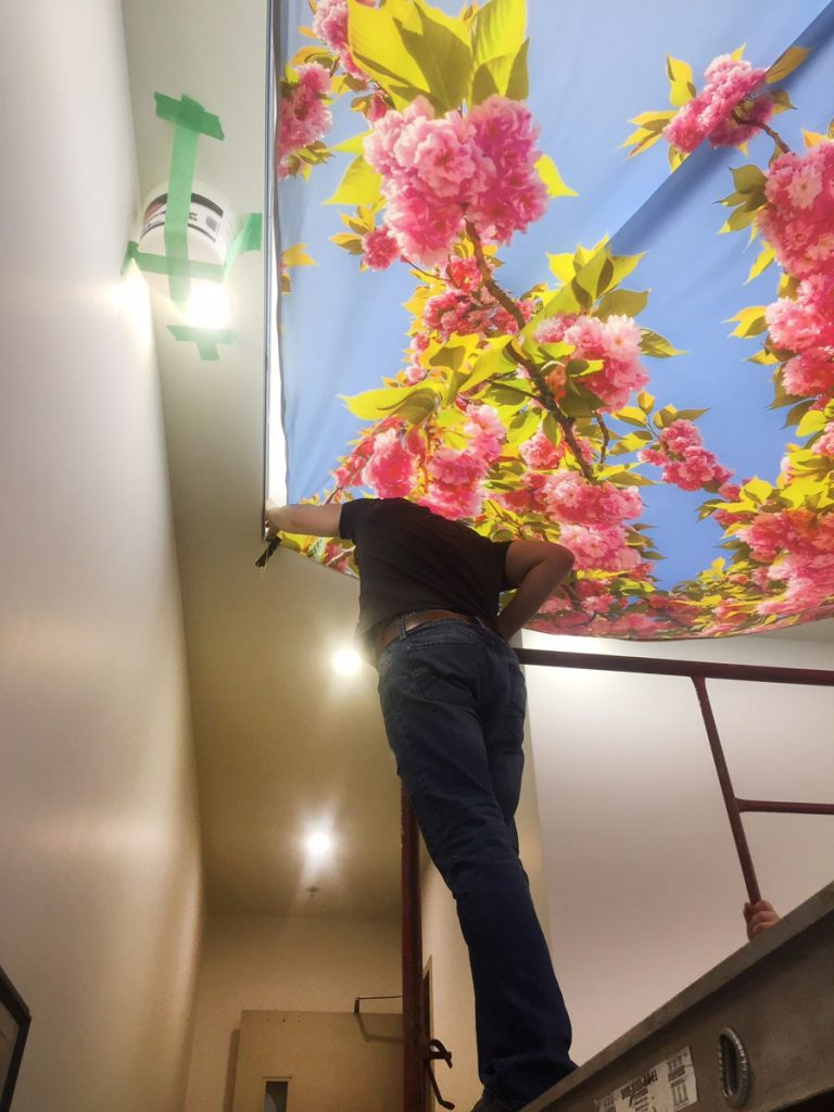 Clover Living. Calgary, install printed ceiling by laqfiol team