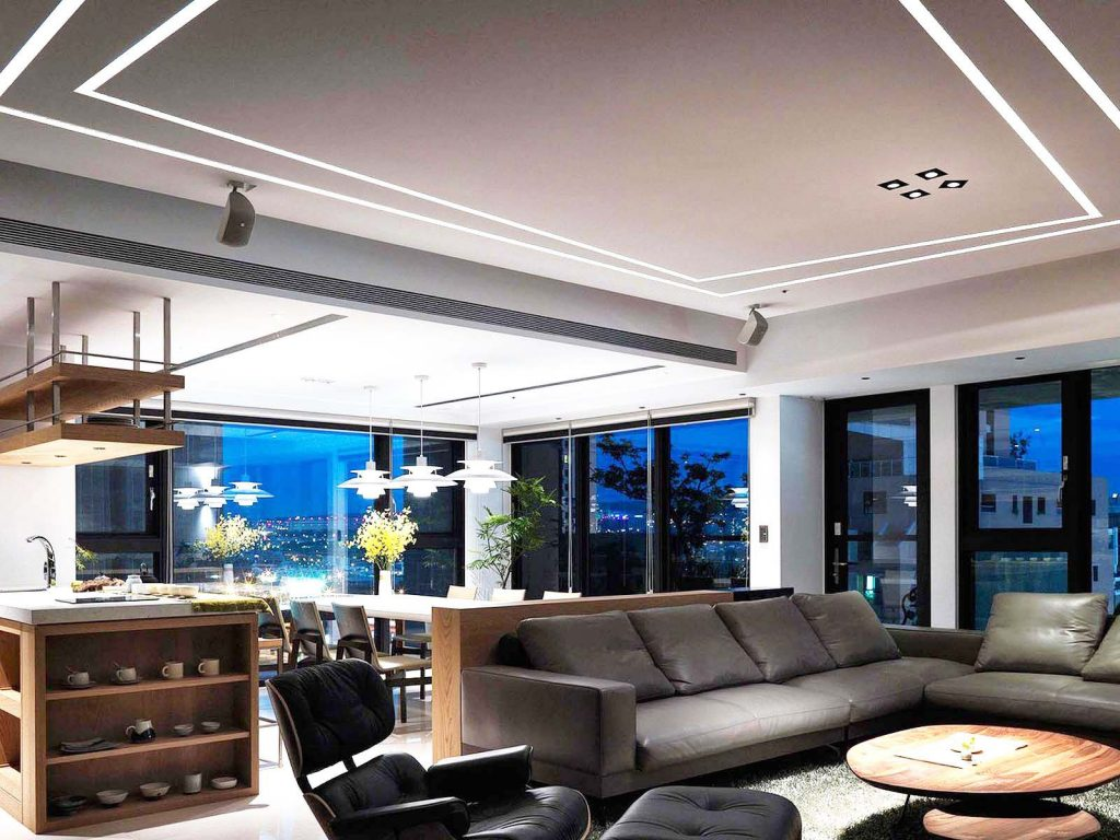 amazing apartment living room with custom Linear Lights Ceiling