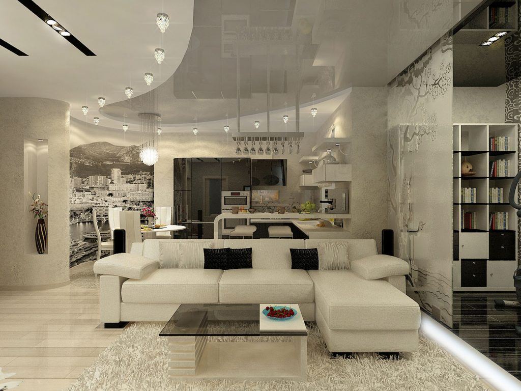 Family Room in basement with multilevel reflective ceiling