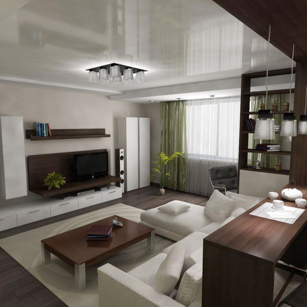Family Room with reflective stretch ceiling edmonton