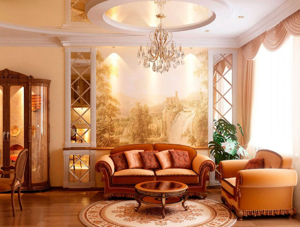 multilevel beige high gloss reflective ceiling in custom family room