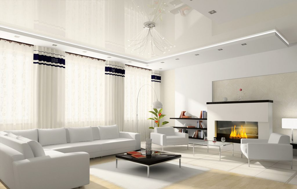 multilevel reflective stretch ceiling and Linear Lights in amazing living room