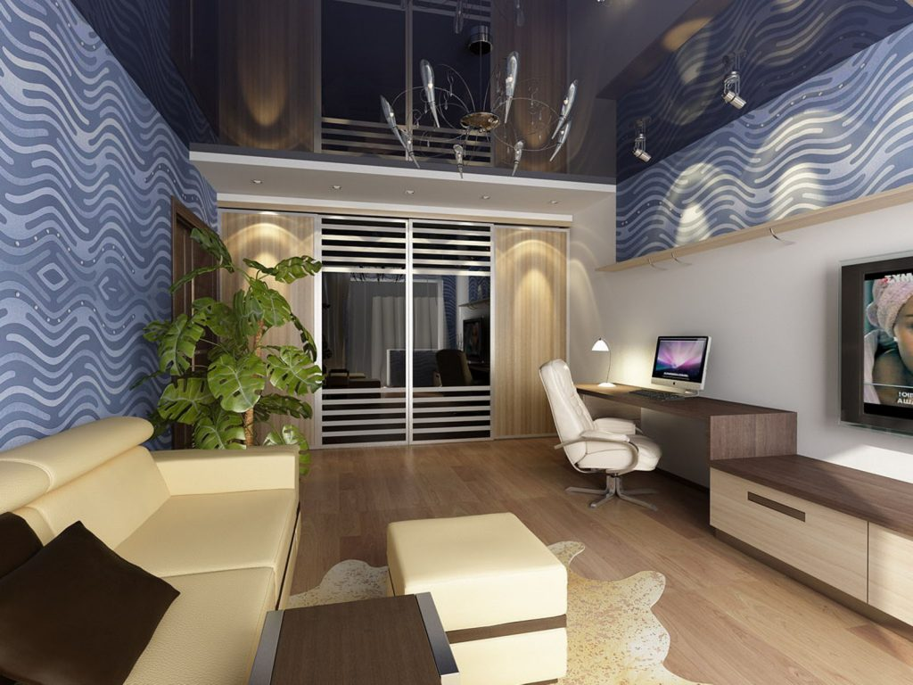 Family Rooms black reflective ceiling and wall cover