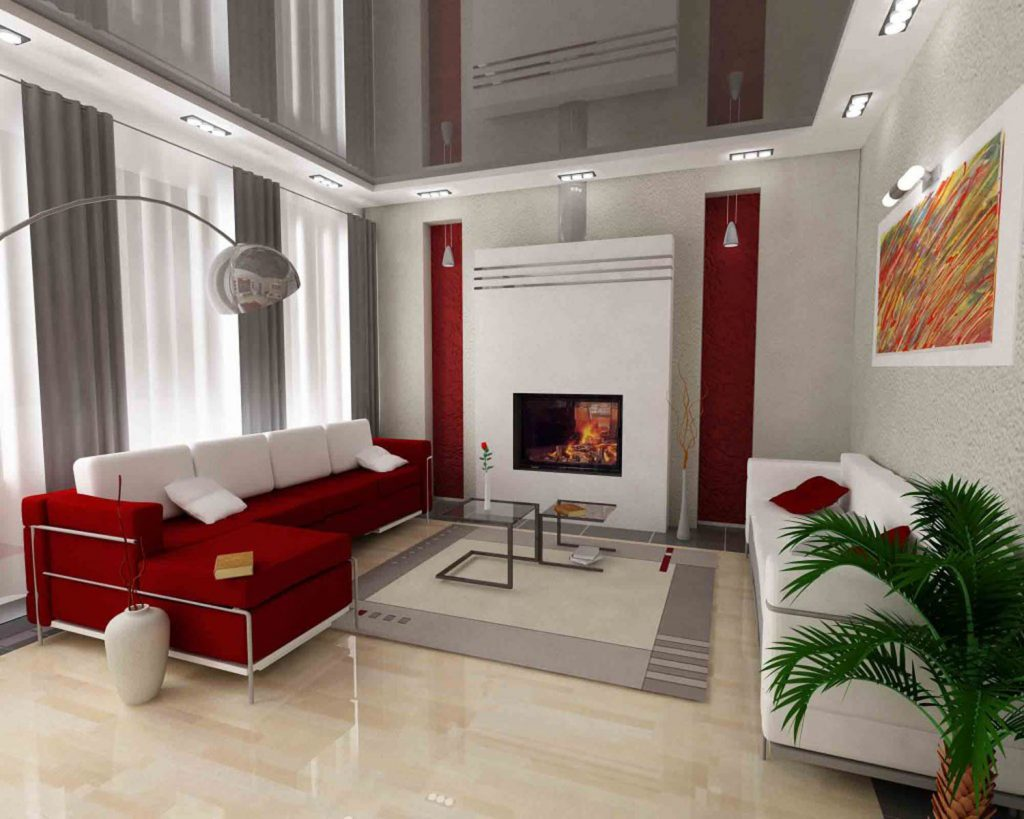 amazing living room with gray reflective stretch ceiling by laqfoil