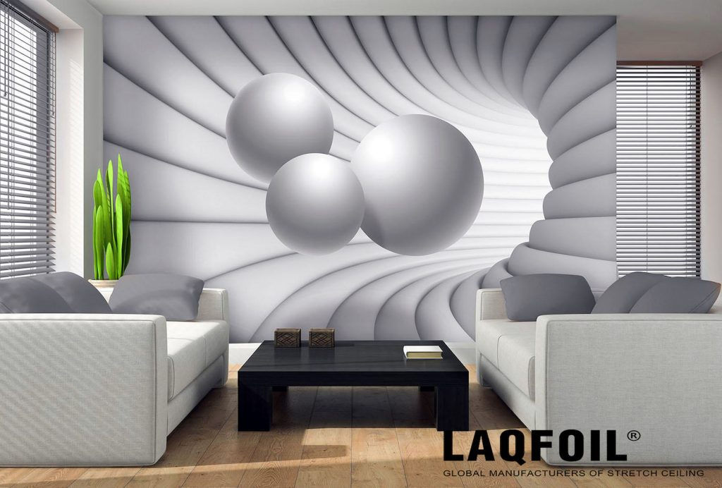 modern living room with printed wall murals Montreal