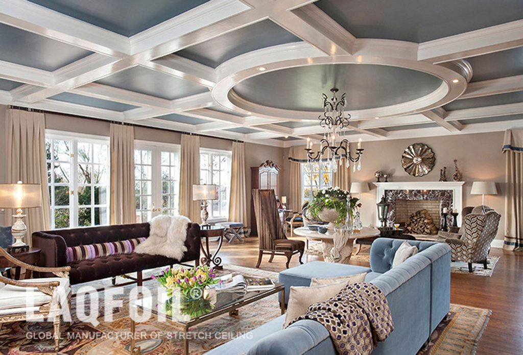 waffle trim with gray stretch ceiling in custom living room vancouver