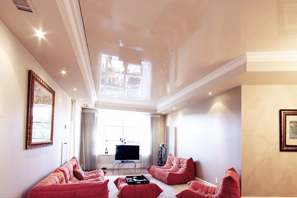 luxury Family Room with reflective stretch ceiling