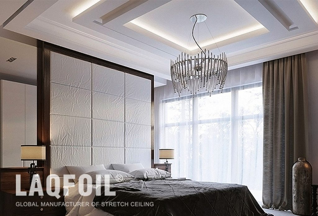 amazing bedroom with Linear Lights Ceilings and custom wall cover by laqfoil