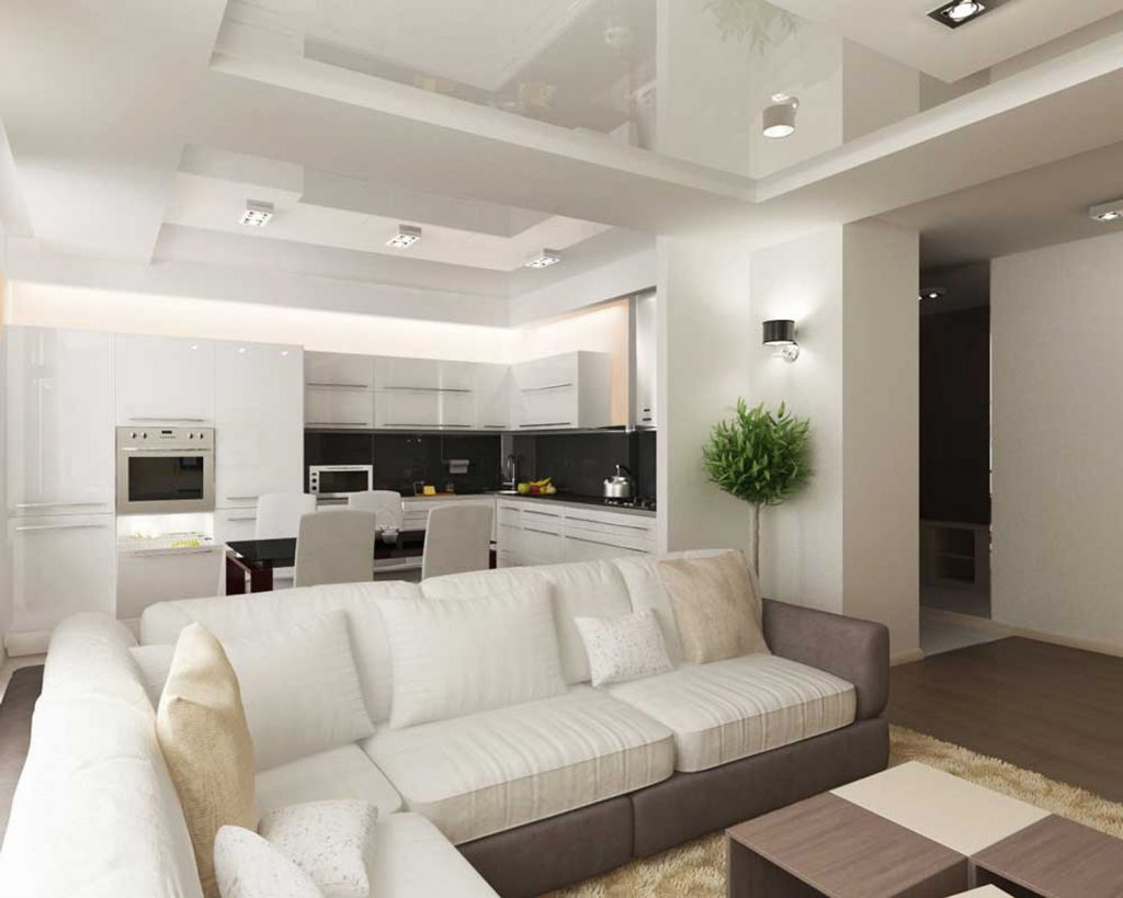 Family Room with multilevel stretch ceiling living room