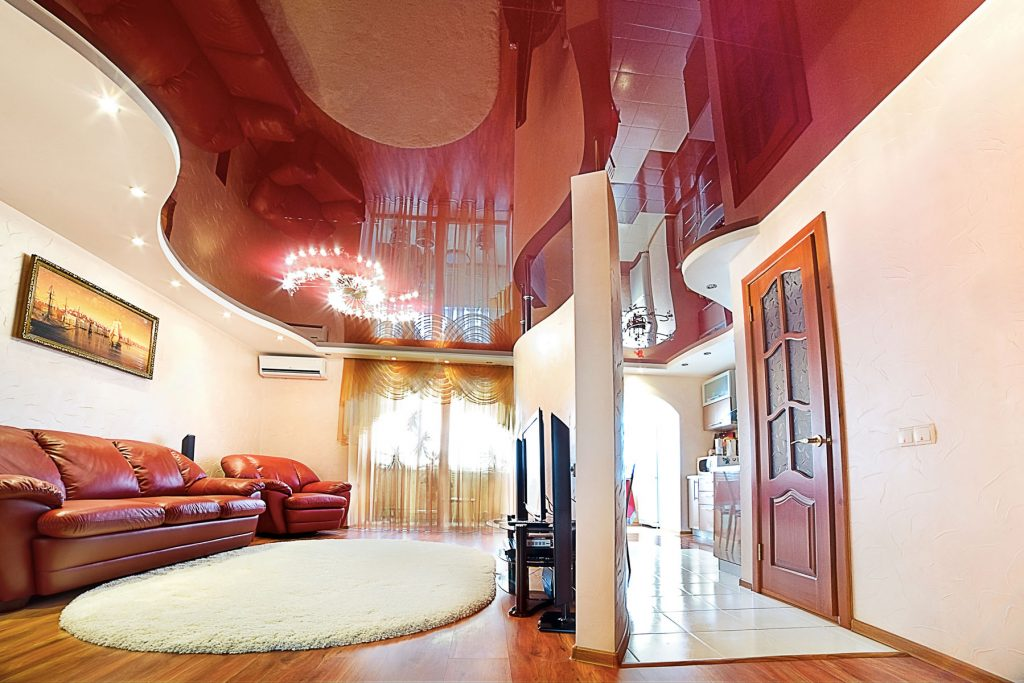 multilevel red stretch ceiling glossy in family room
